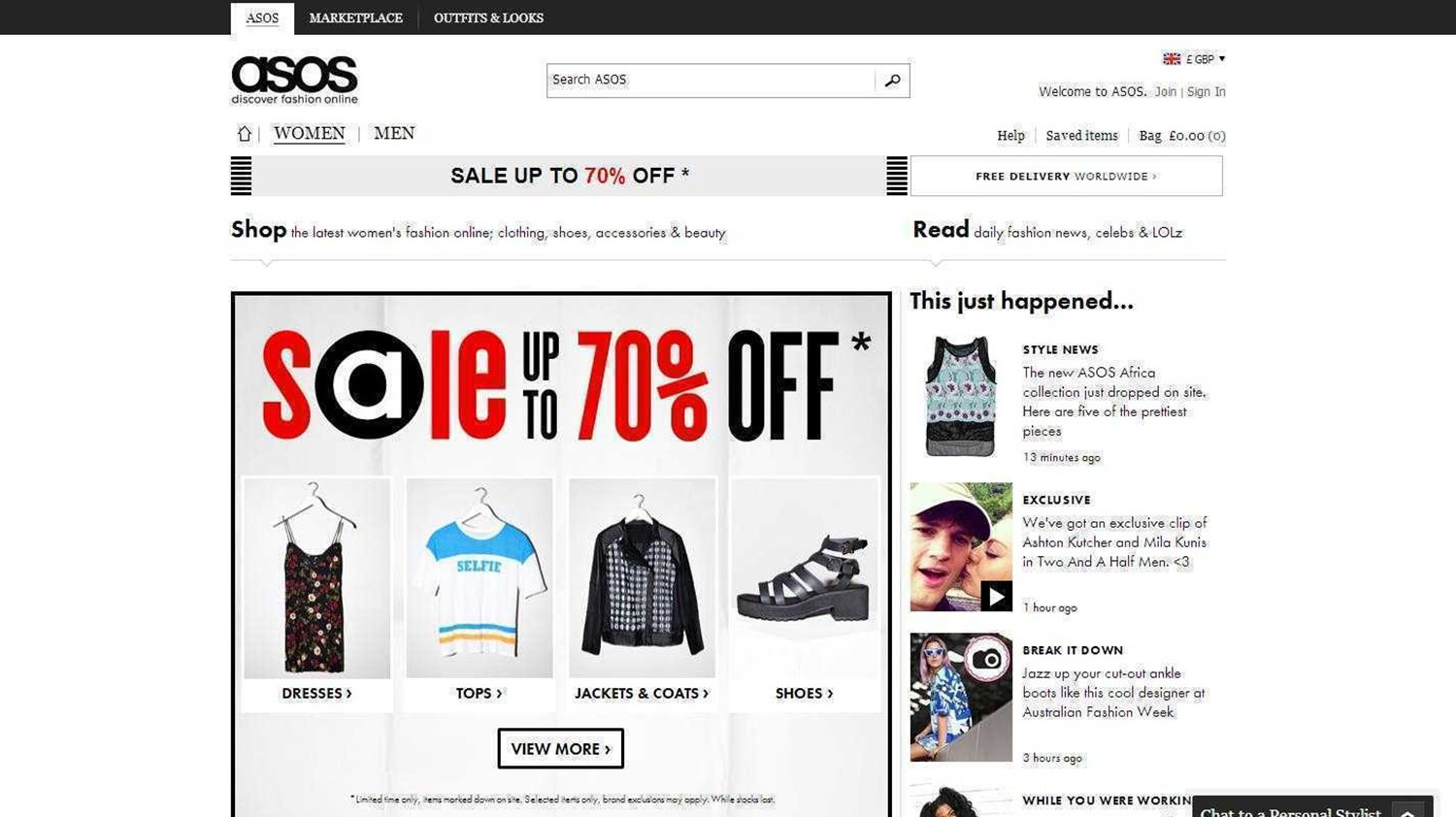 ASOS Website 2014