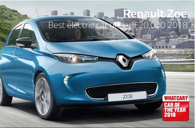 Renault Zoe, winner of best electric car under £20,000 for 2018.