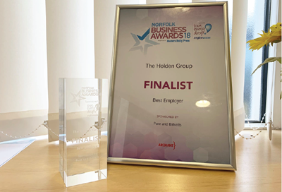 Holden Group appointed Finalist for Best Employer at the Norfolk Business Awards 2018