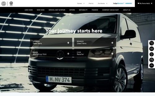 Sinclair Vans website screenshot