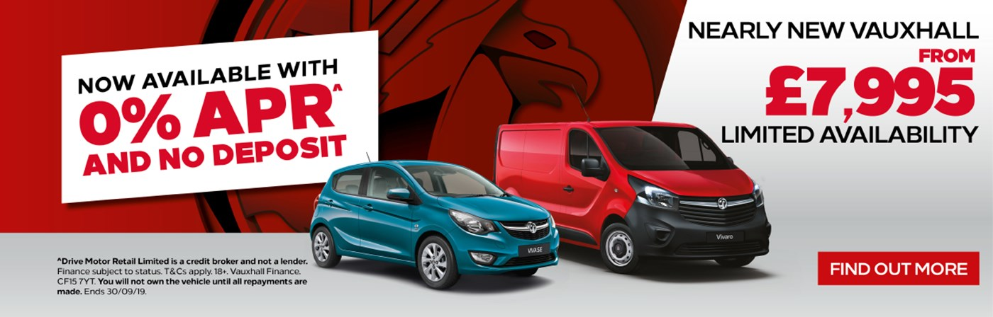 Nearly New Cars and Vans With 0% APR And No Deposit