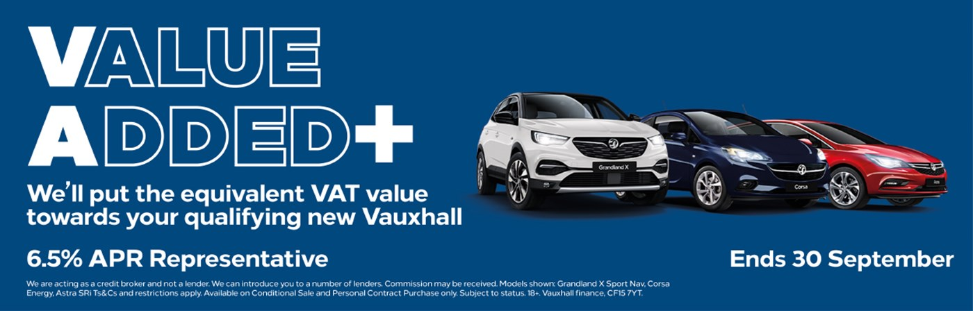 We will put the equivalent VAT Value towards your qualifying New Vauxhall